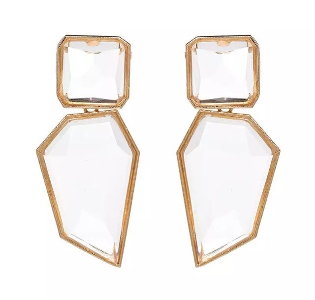 Image of Gold and Crystal Statement Earrings