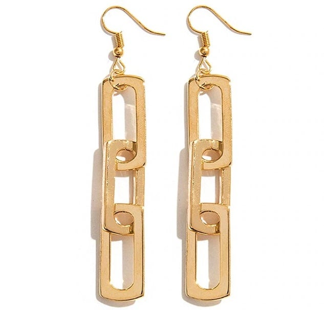 Image of Gold Link Drop Statement Earrings