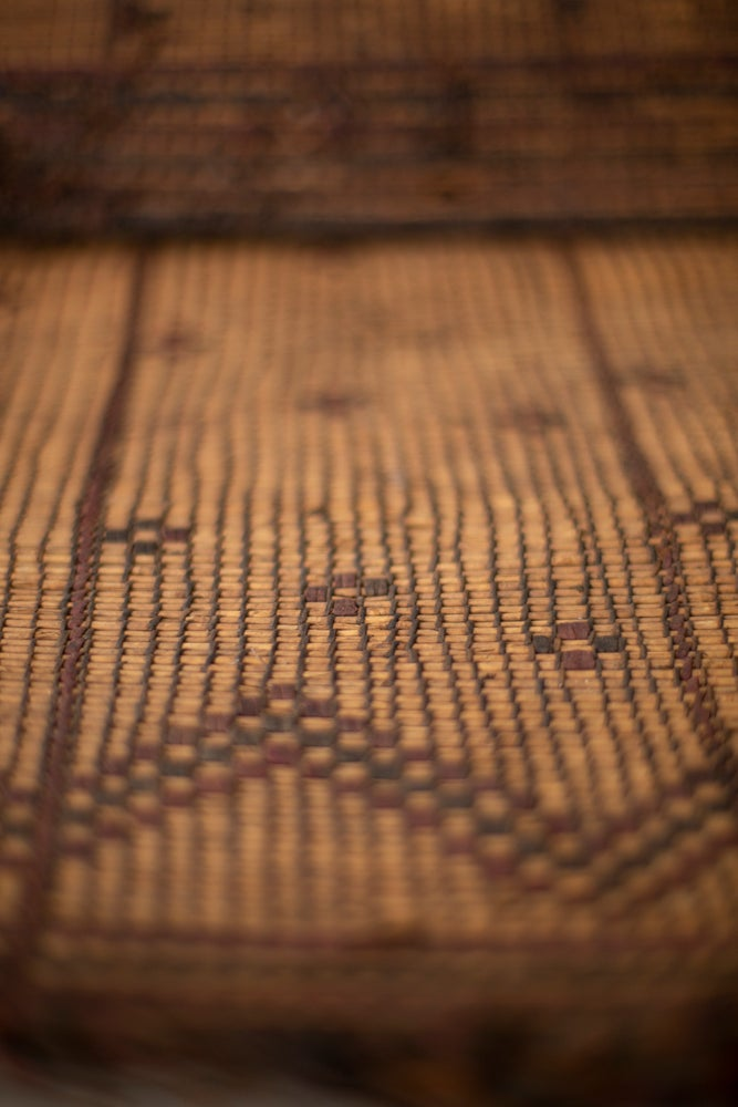 Image of Antique Tuareg leather/palm rattan mat
