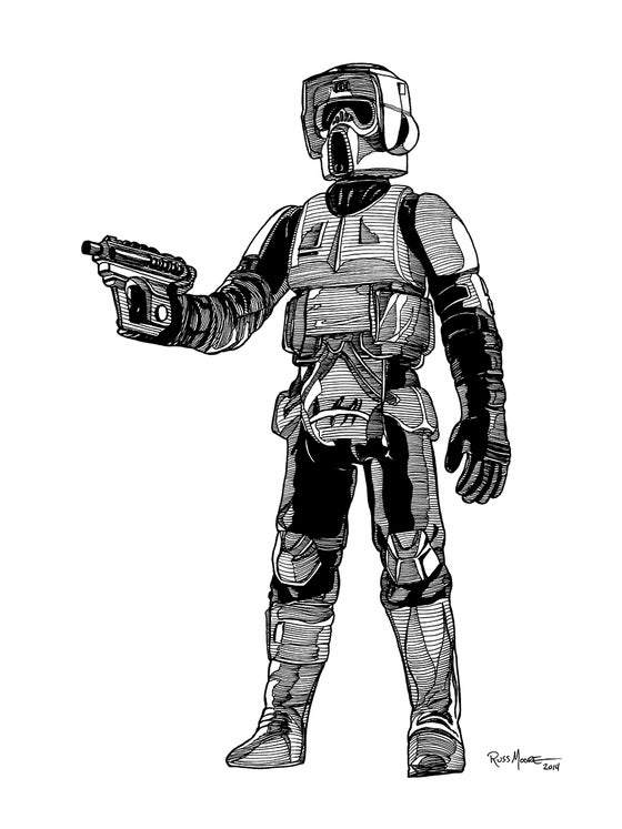 Image of Star Wars Biker Scout Original Ink Art