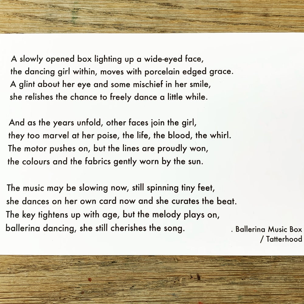 Image of Ballerina Music Box - medium 7x5 - poem postcard