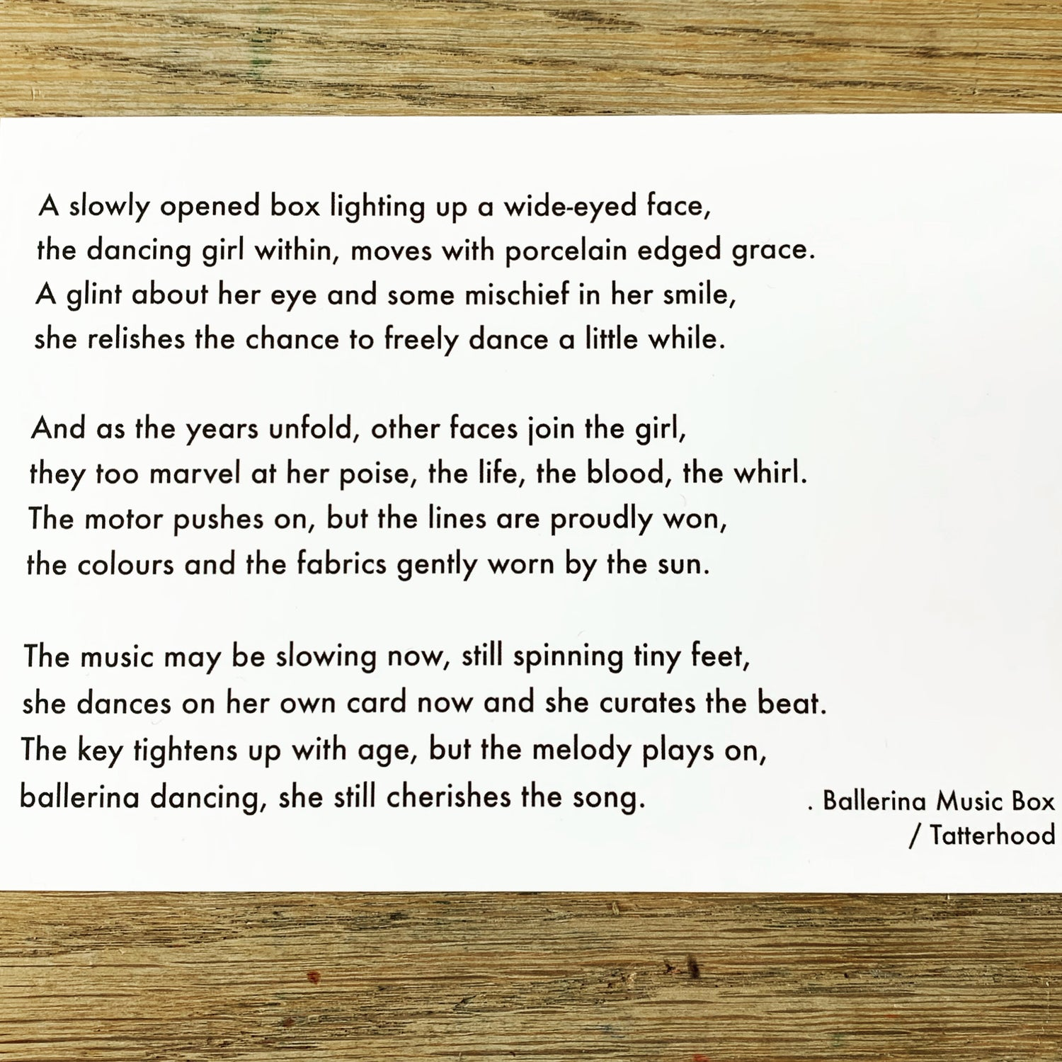 Image of Ballerina Music Box - medium 7x5 - poem postcard