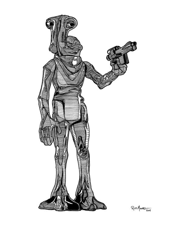 Image of Star Wars Hammerhead Original Ink Art
