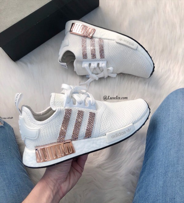 Image of Swarovski Adidas NMD R1 Casual Shoes Cloud White/Copper Metallic customized with Swarovski Crystals.
