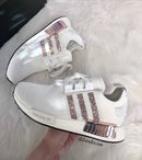 Image of Swarovski Adidas NMD Runner Casual Shoes Cloud White/Core Black customized with Swarovski Crystals.