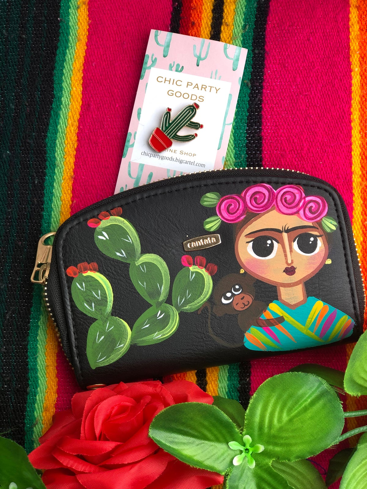 Image of Frida hand Painted coin purse
