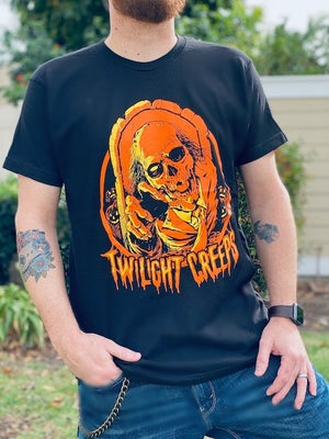 Image of Halloween Skull Twilight Creeps T-Shirt | Orange or White Variant (Unisex)