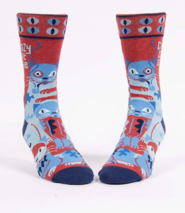 Image of Crazy Cat Dude MEN'S CREW SOCK