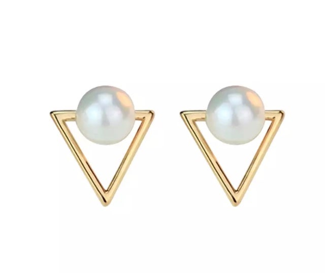 Image of Gold and Pearl Stud Earrings