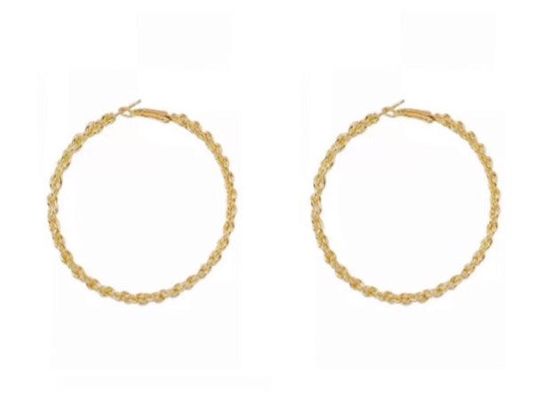 Image of Gold Rope Twist Hoop Earrings