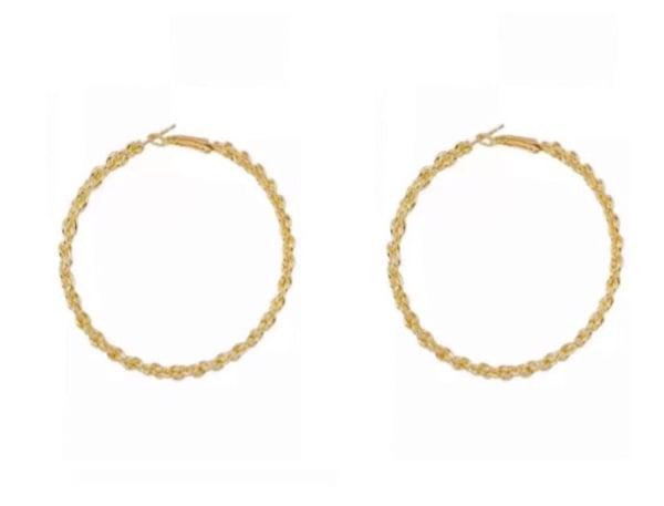 Image of Gold Rope Twist Hoop Earrings