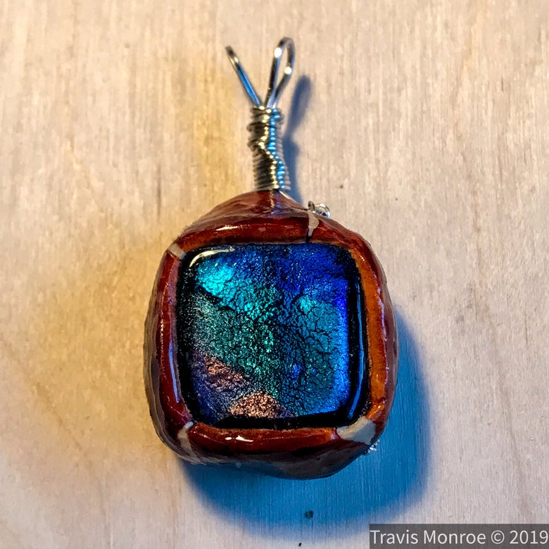 Image of Glass Tile Avocado Stone Pendant