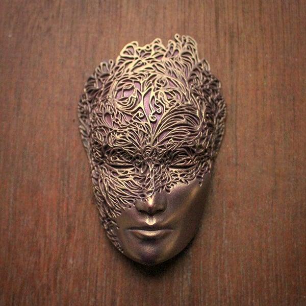 Image of Mini Dreamer Mask (Violet/Brass+Pink) by Lumecluster