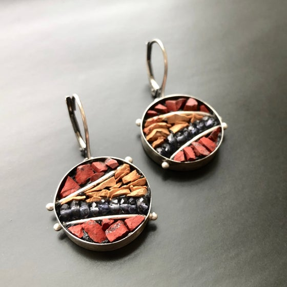 Image of Micro Mosaic Red Jasper/Red Dog/Iolite Earrings