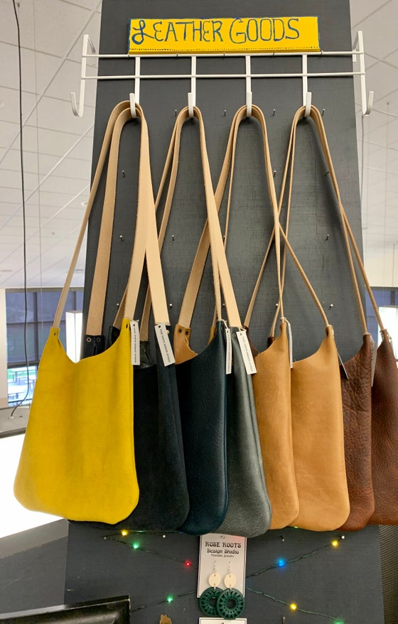 Image of Ultra soft leather and suede handbags.  Just the right size!