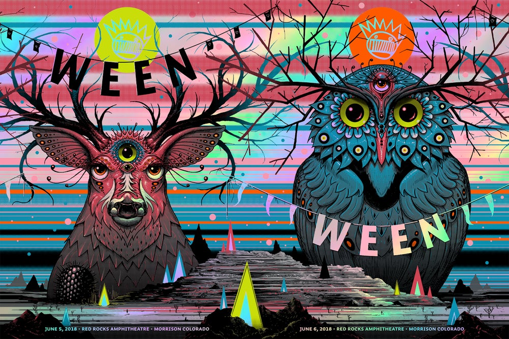 Image of Archive Sale - Ween Red Rocks Uncut Rainbow Foil Poster