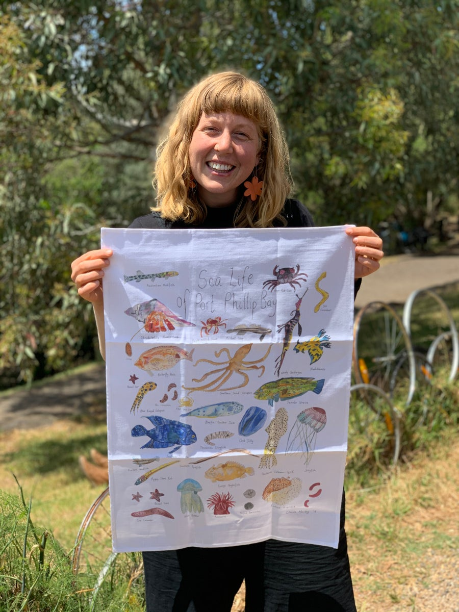 Image of Sea Life of Port Phillip Bay - A Tea Towel