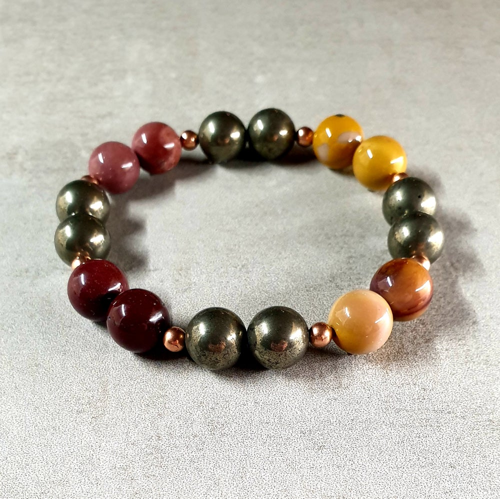Image of EARTHLY GROUNDING BRACELET - Pyrite, Mookaite and Copper