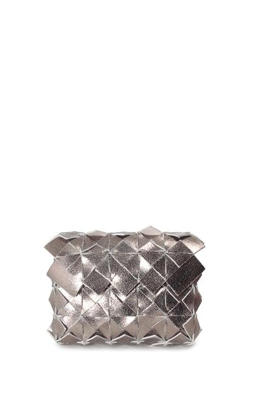 Image of Yup mini clutch in pelle silver craquelè