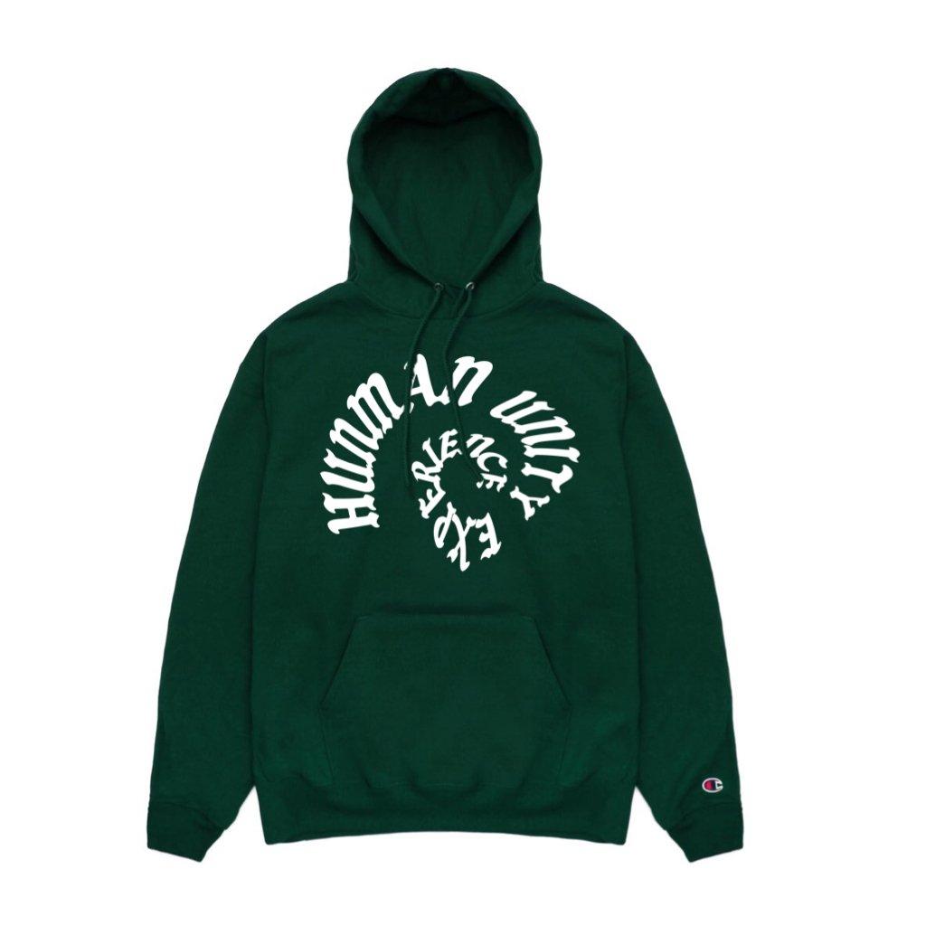 Image of HUE warp green champion eco hoodie (RBG)
