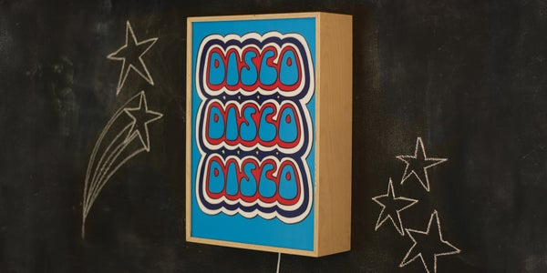 Image of DISCO DISCO DISCO STRIPES - Signed, limited edition, handmade light box