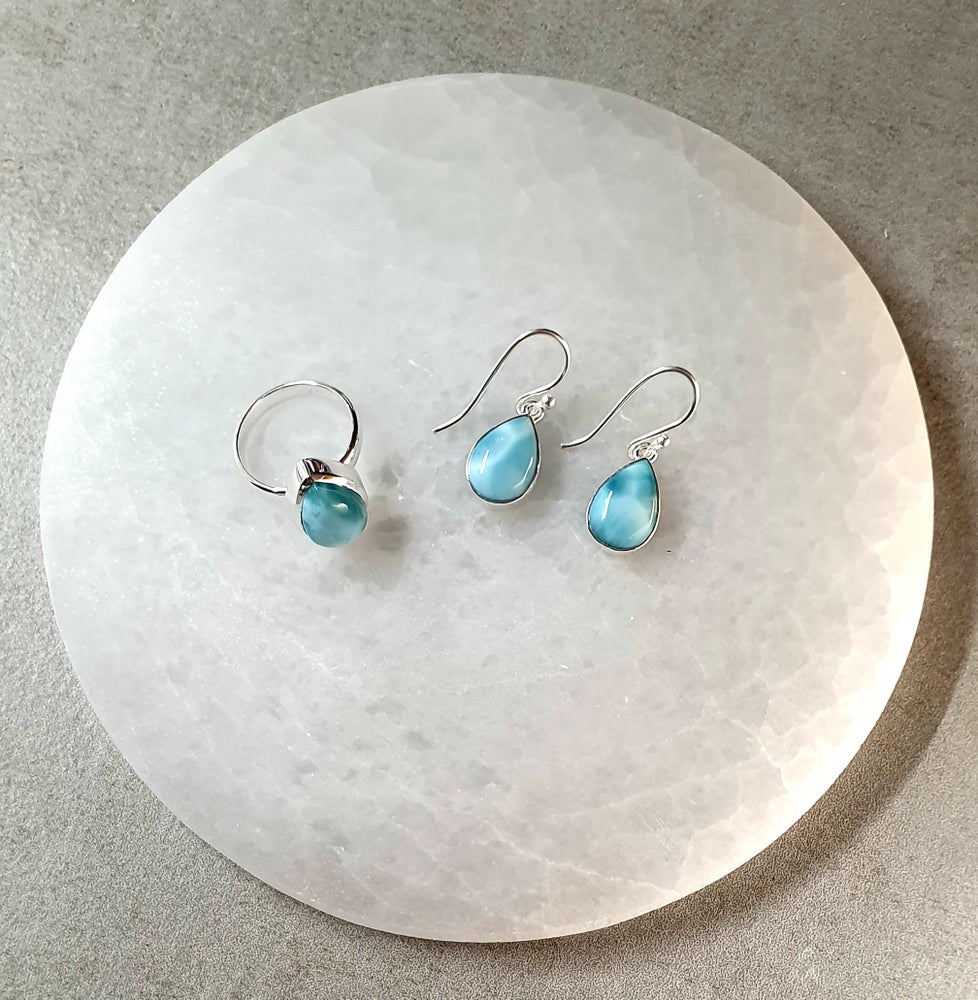 Image of LARIMAR Sterling Silver Earrings - Tear Drop