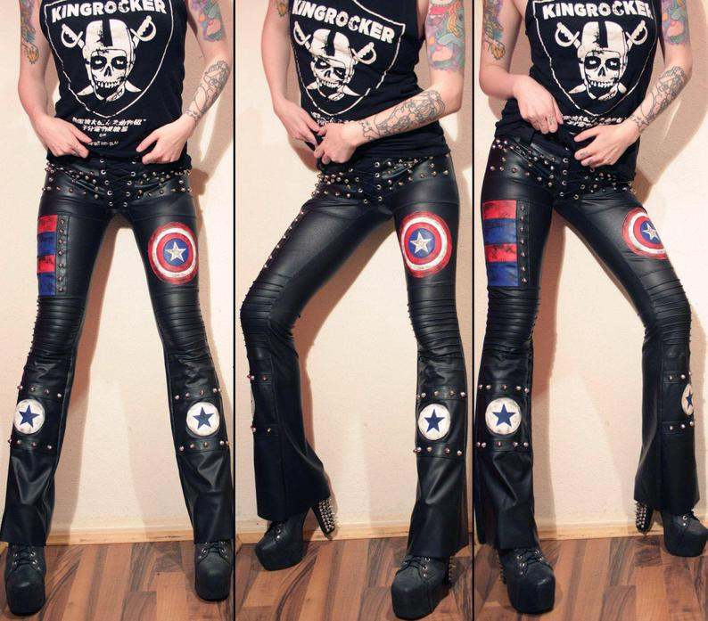 Image of Bootcut stars & stripes pants with studs