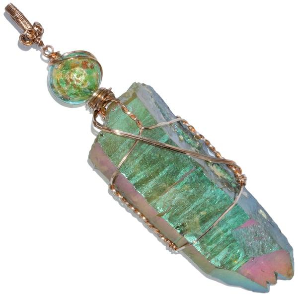Image of Giant Apple Green Aura Quartz Crystal Handmade Pendant