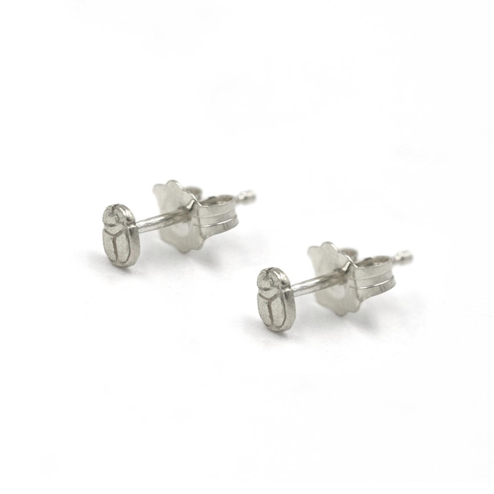 Scarab Seed Studs Silver
