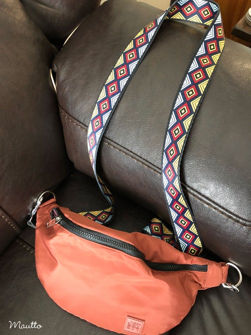 Image of Aztec Diamond Pattern Strap for Handbags - Geometric Tribal Design - Adjustable Shoulder-Crossbody