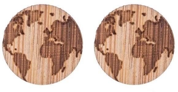 Image of ZEAL GIVES WOODEN WORLD MAP EARRINGS