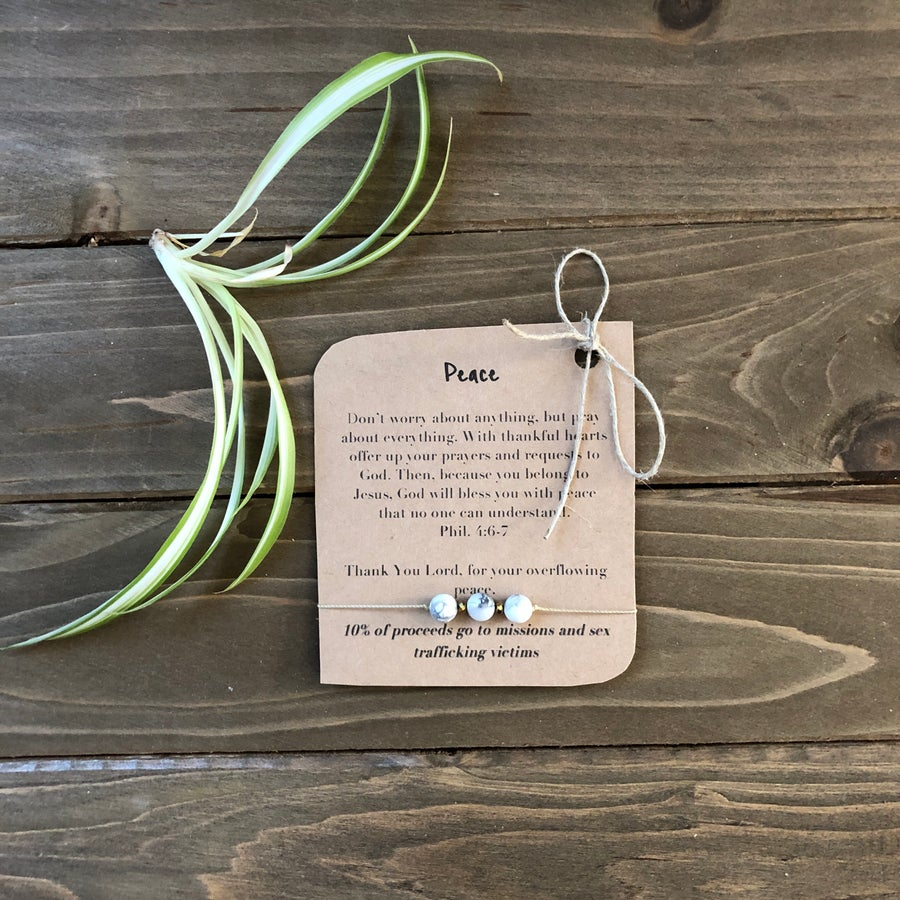 Image of Peace Barely There Tri-Stone Bracelet
