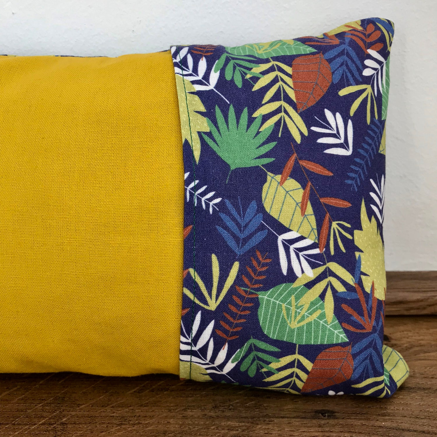 Image of Leaves pillow (mustard and green)