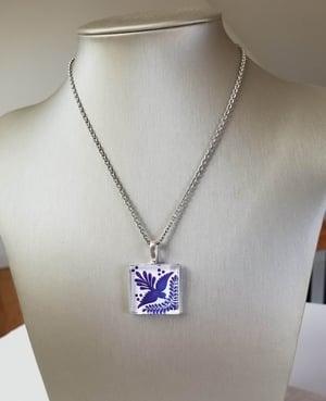 Image of Blue Talavera Bird Tile Necklace