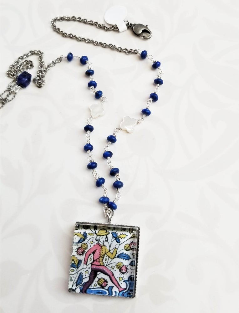 Image of Folk Art Pendant with Lapis Chain