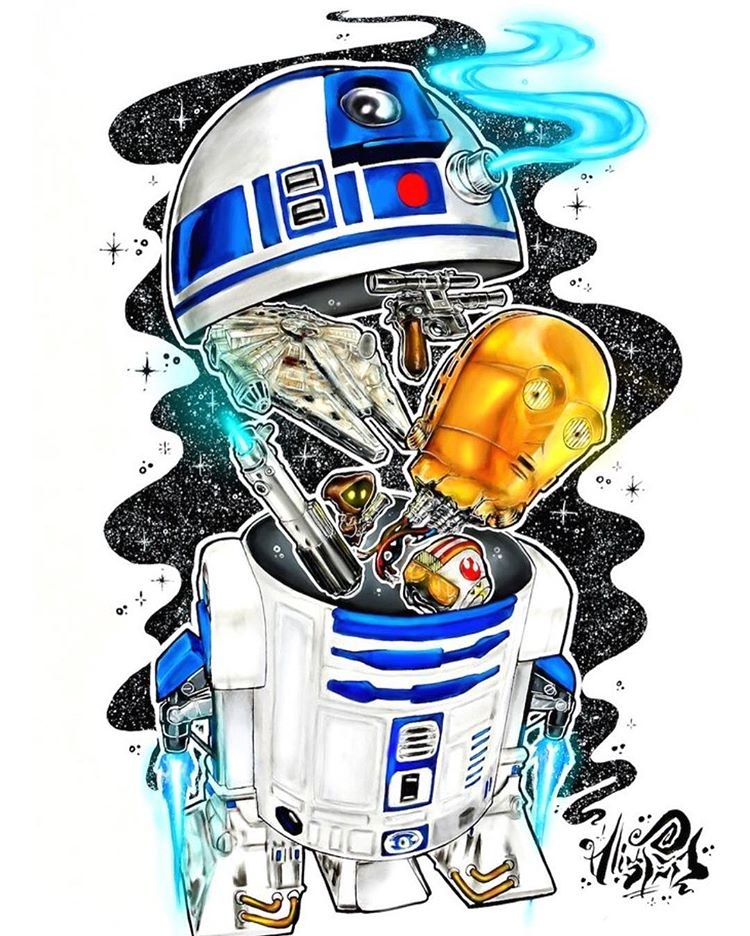 "Image of <font color=""red"">Clearance </font>""R2-D2"" Original Painting"