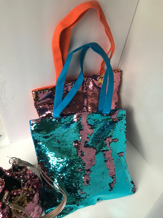 Image of large sequin tote bag 2COLORS
