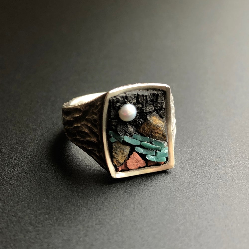 Image of Micro Mosaic Moonscape Ring