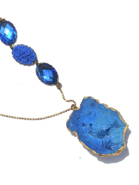 Image of stunning blue agate combined with vintage carved florals