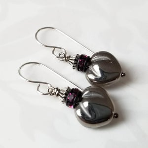 Image of Pewter Heart Earrings