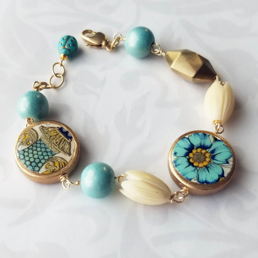 Image of Florentine Bracelet – Blue Flower + Gold Urn Coins