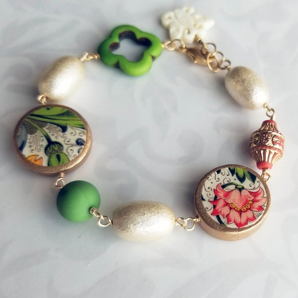 Image of Florentine Bracelet – Rosy Pink Flower and Green Leaves Coins