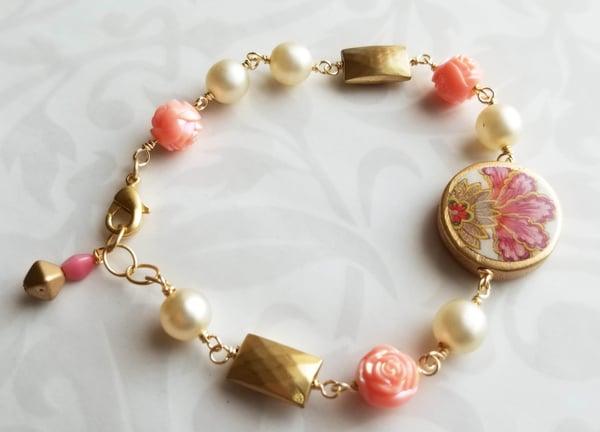 Image of Florentine Bracelet –Pink Flourish Coin