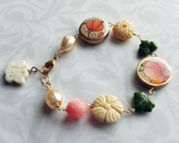Image of Florentine Bracelet –Pink Peony and Pink Tulip Coin