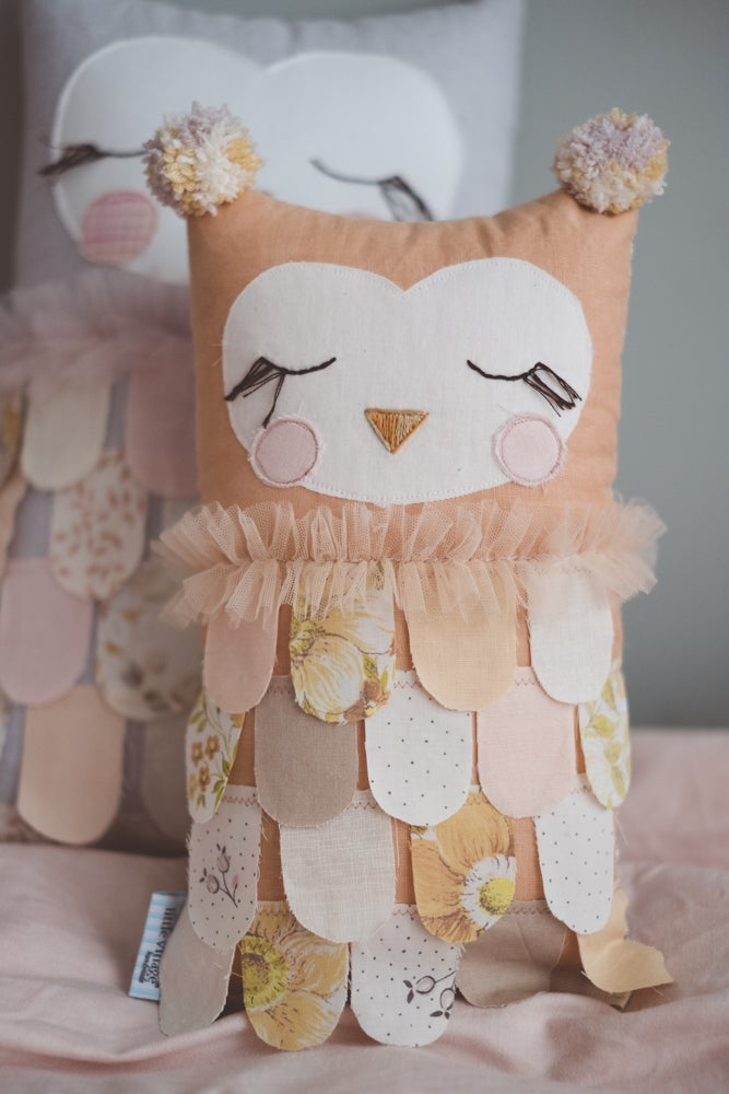 Image of Faded terracotta petite owl - hand dyed