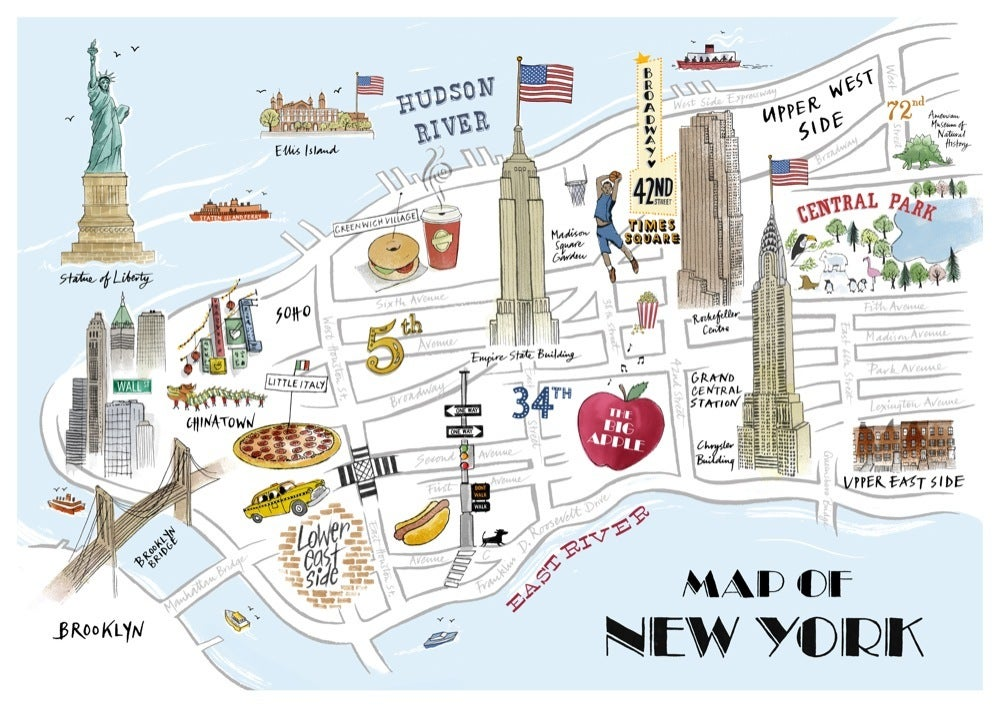 Alice Tait \'Map of New York\' Print - Alice Tait Shop