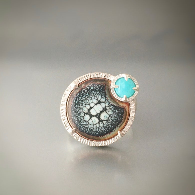 Image of eclipse ring in amazonite and enamel