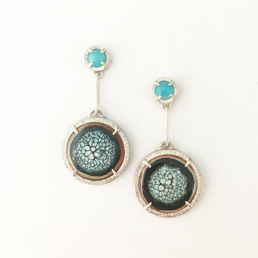 Image of sea and shore earrings in amazonite and enamel