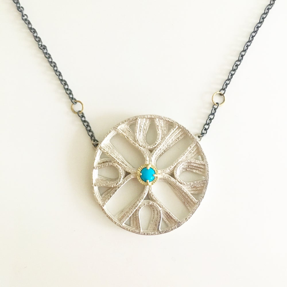 Image of quattro sym necklace with sleeping beauty turquoise