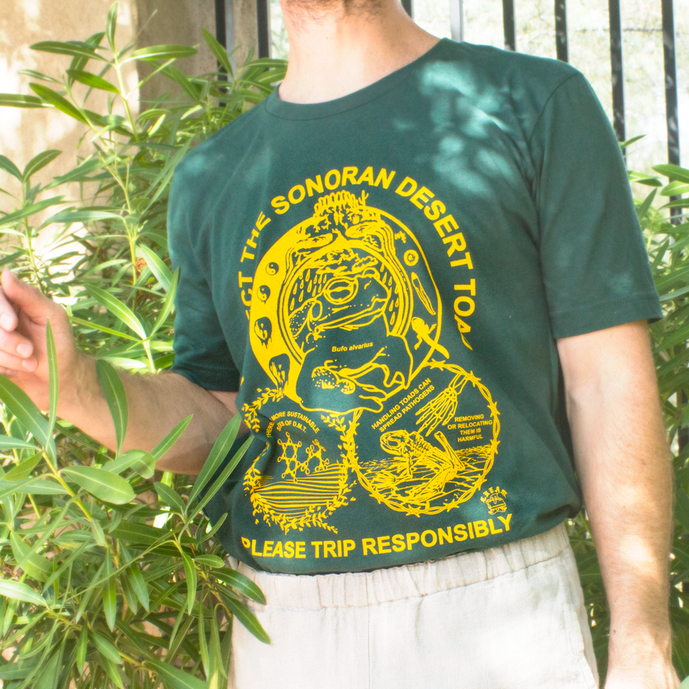 "Image of ""Protect The Toad"" - Yellow on Hunter Green Unisex Tee"